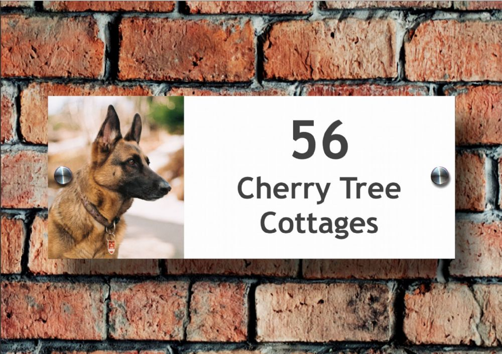 Acrylic Name & Number House Sign, German Shepherd Dog Design